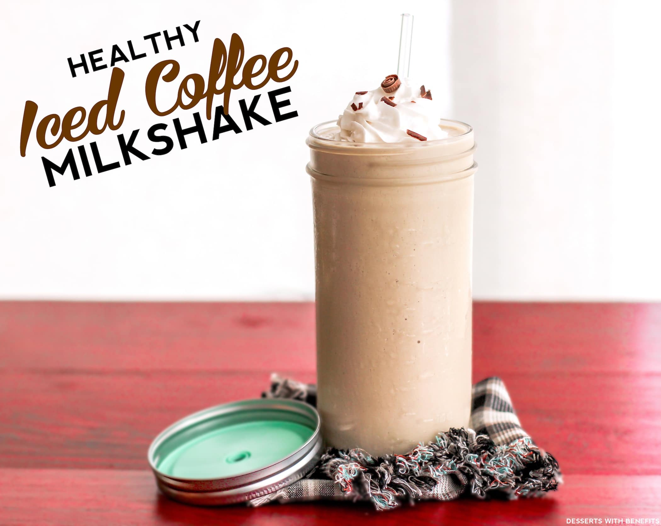 Healthy Iced Coffee Milkshake (sugar free, low carb, low fat, high protein) - Healthy Dessert Recipes at Desserts with Benefits