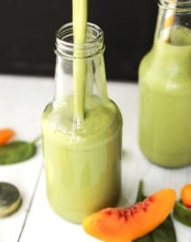Healthy Green Peach Lassi (no sugar added, low fat, high protein) - Healthy Dessert Recipes at Desserts with Benefits