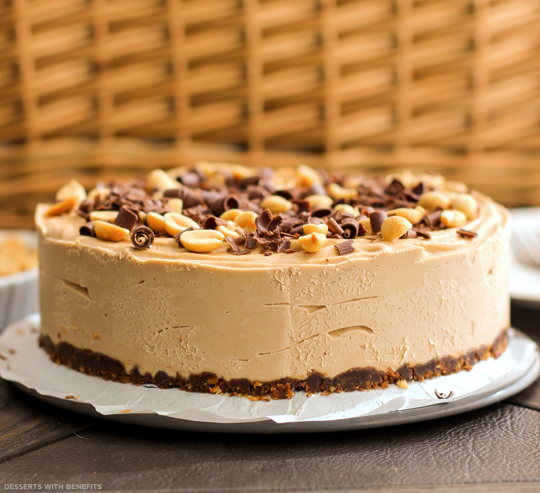 desserts with benefits healthy chocolate peanut butter cheesecake no bake low sugar high