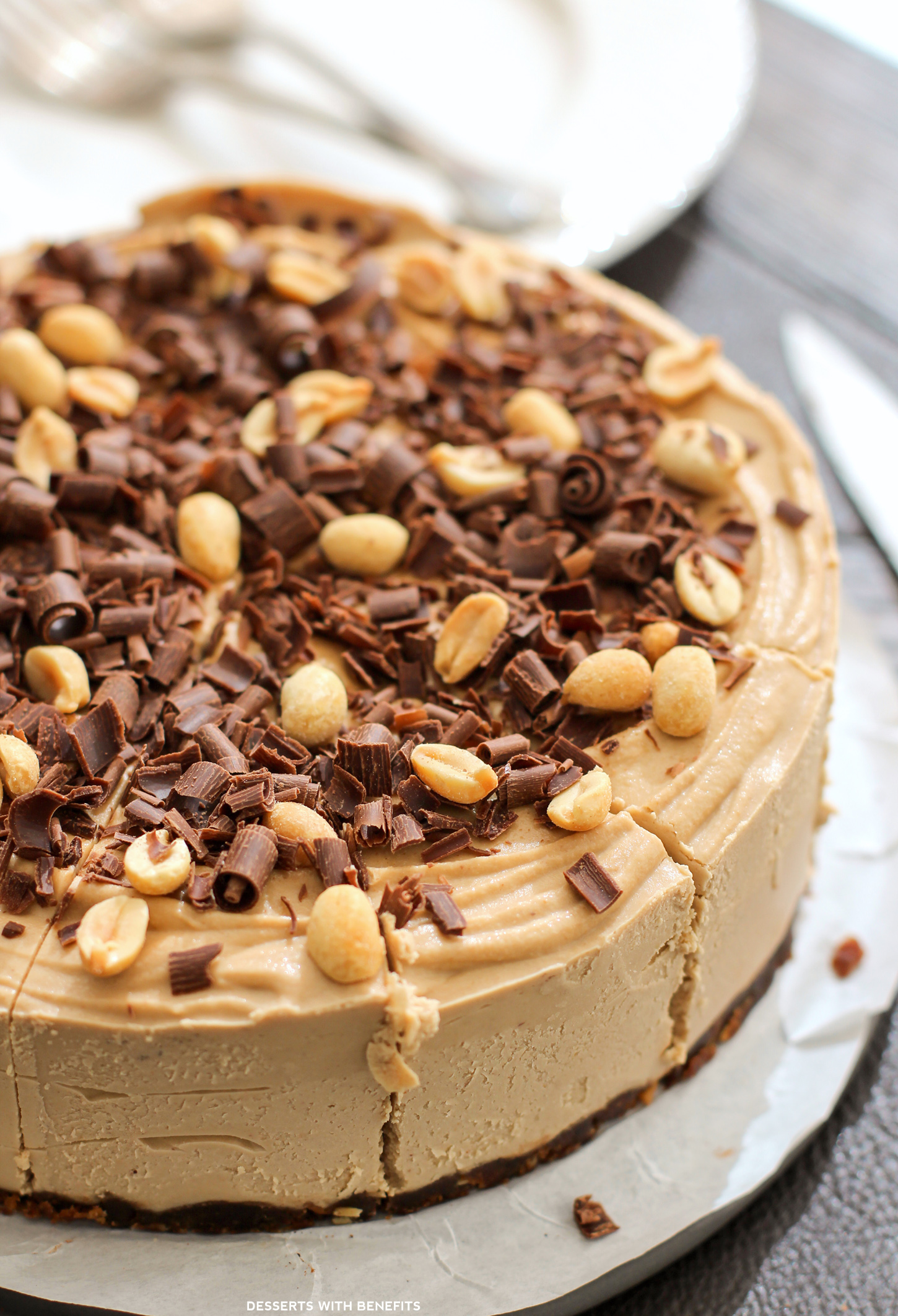 Healthy Chocolate Peanut Butter Raw Cheesecake Vegan