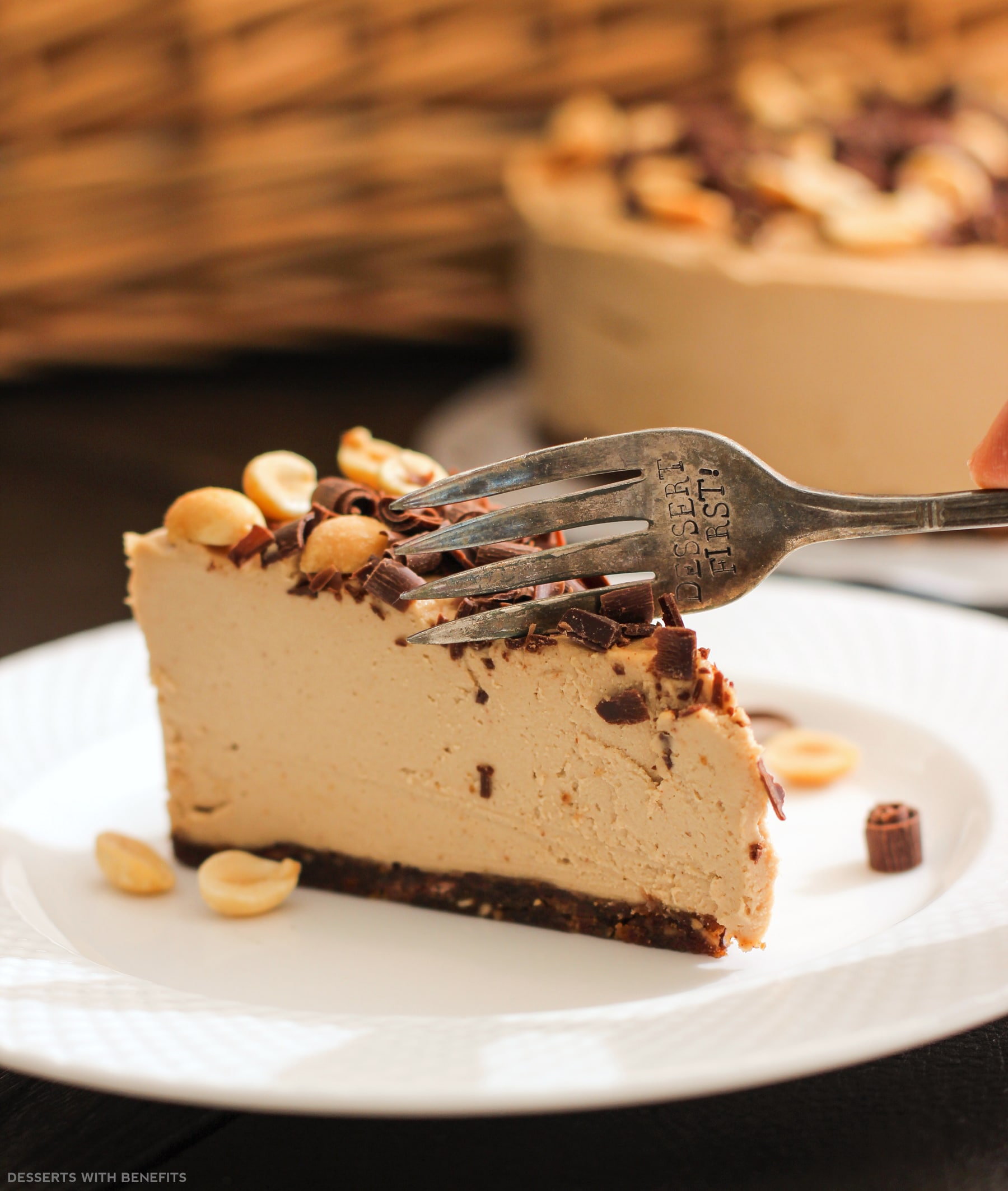 Healthy Chocolate Peanut Butter Raw Cheesecake | Vegan, Gluten Free