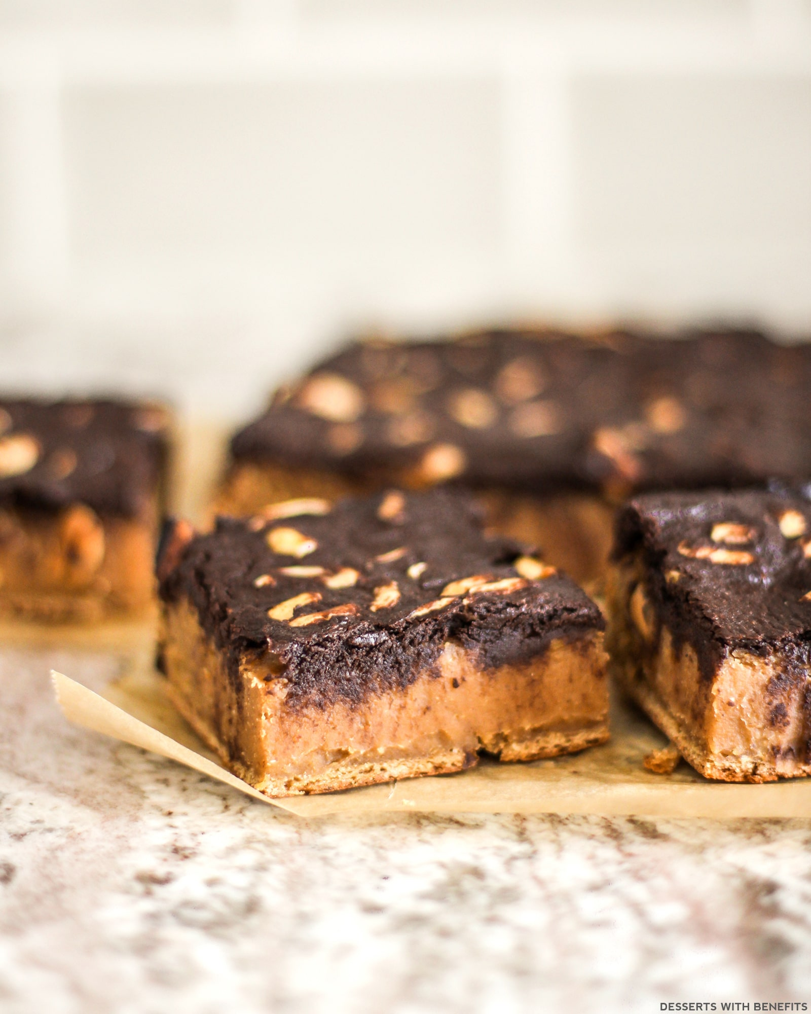 Wholesome Brownie-Topped Peanut Butter Blondies (refined sugar free ...