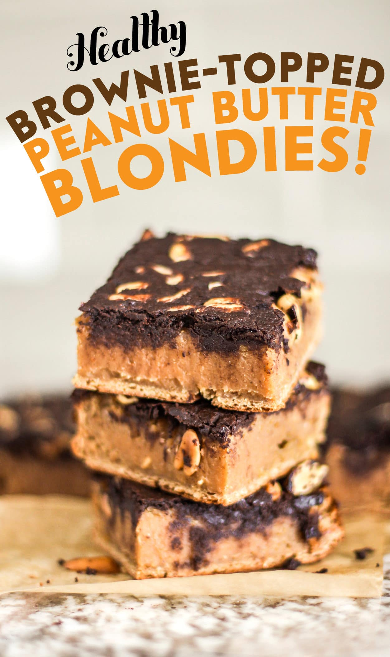 Healthy Brownie-Topped Peanut Butter Blondies (refined sugar free, high protein, high fiber, gluten free, vegan) - Healthy Dessert Recipes at Desserts with Benefits