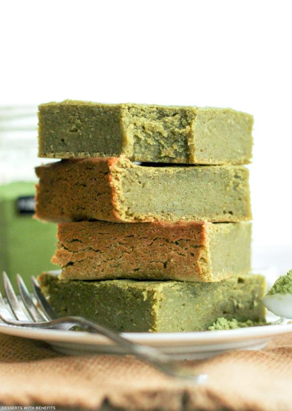 Healthy Matcha Green Tea Blondies (sugar free/gluten free/vegan)
