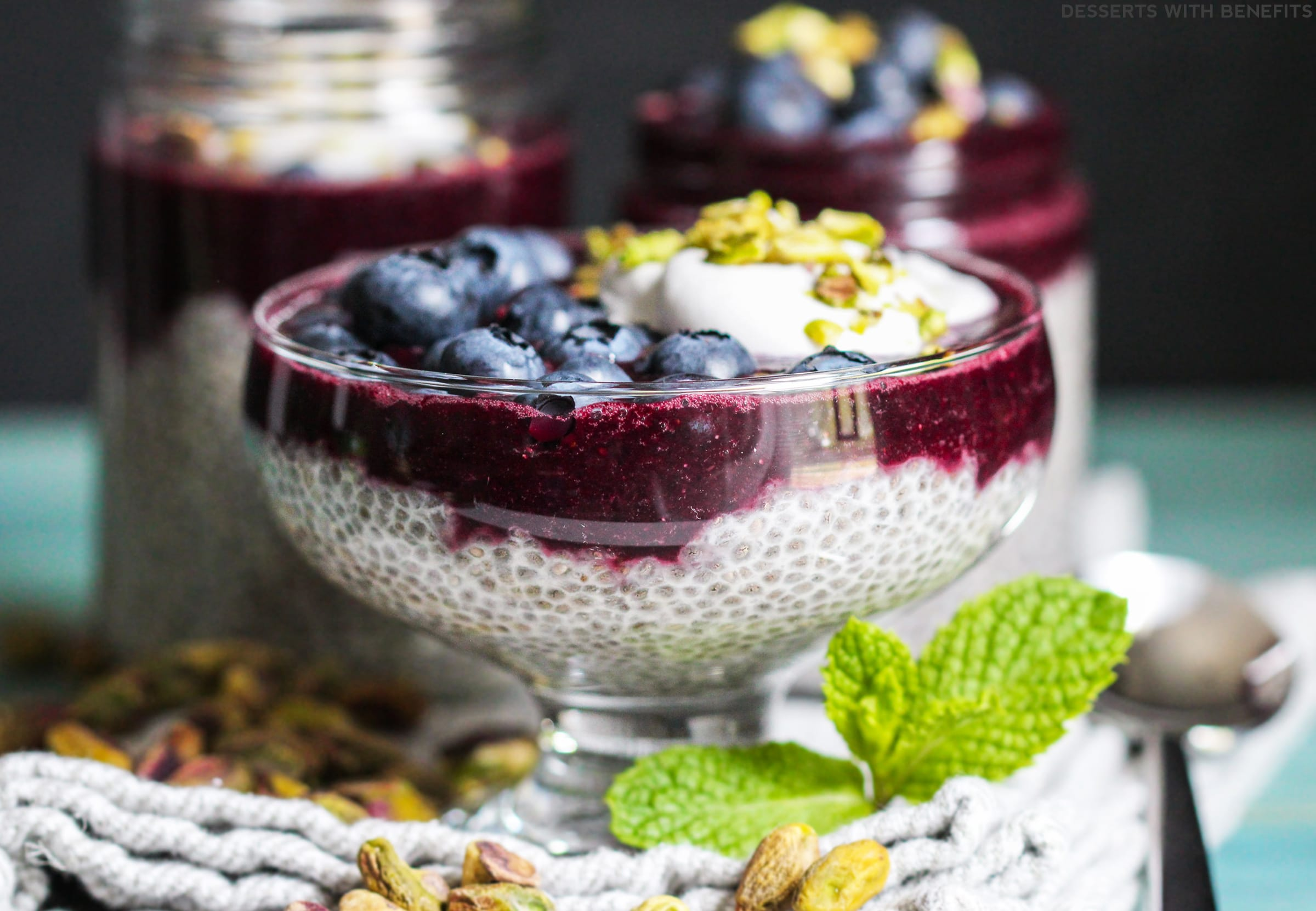 Healthy Blueberry Lemon Rosewater Chia Seed Pudding (refined sugar free, low fat, low calorie, high fiber, gluten free, dairy free, vegan) - Healthy Dessert Recipes at Desserts with Benefits