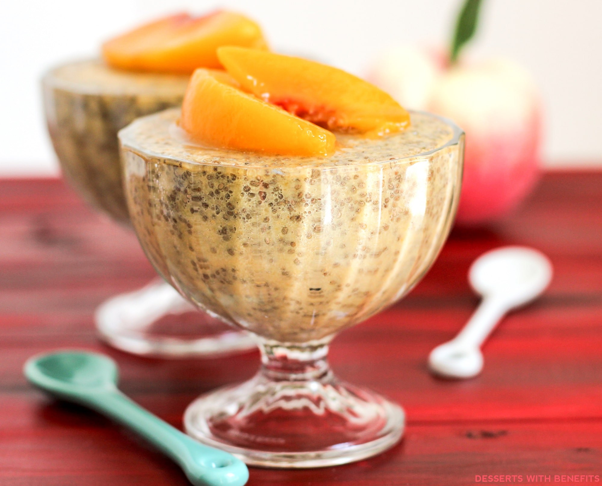 Low Fat High Fibre Cake Recipes: Healthy Ginger Peach Chia Seed Pudding Recipe