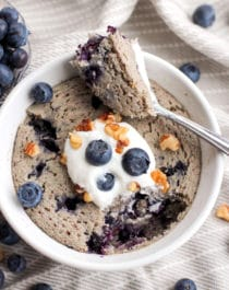 Healthy Single Serving Blueberry Microwave Muffin (refined sugar free, low fat, high fiber, gluten free, vegan) - Healthy Dessert Recipes at Desserts with Benefits
