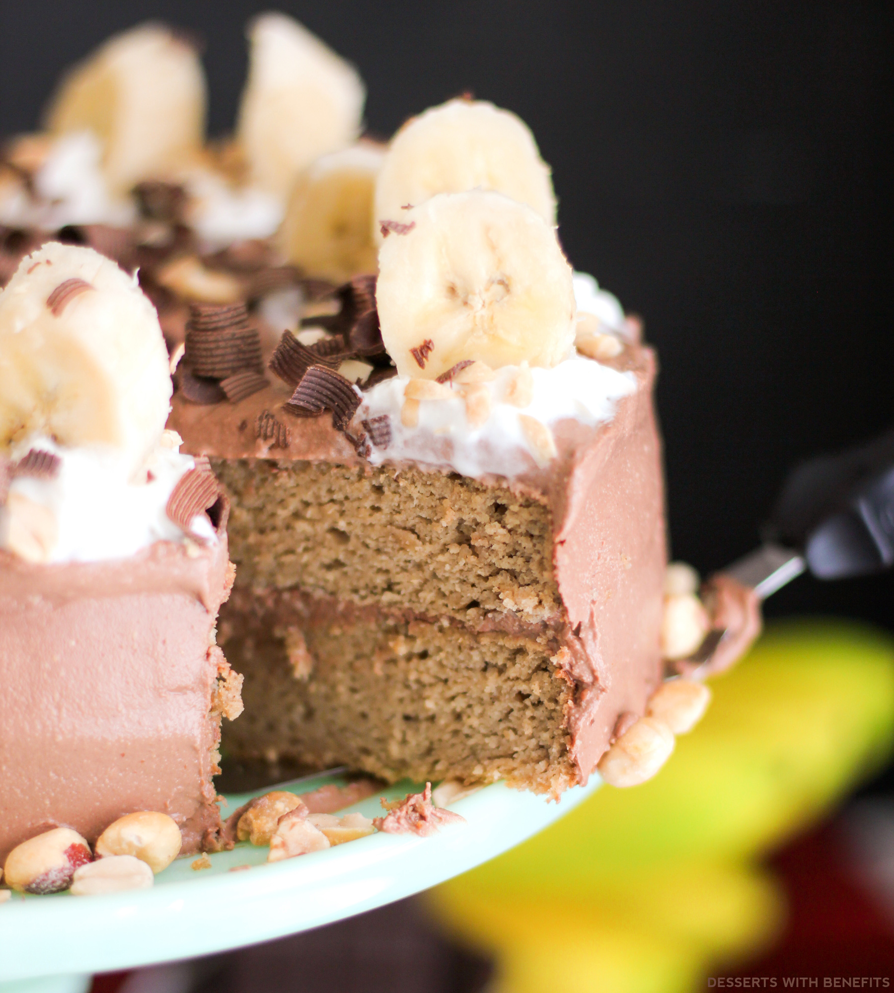 Healthy Chunky Monkey Cake: Peanut Butter Banana Cake with Chocolate Peanut Butter Frosting (refined sugar free, high protein, high fiber, gluten free) -- Healthy Dessert Recipes at Desserts with Benefits