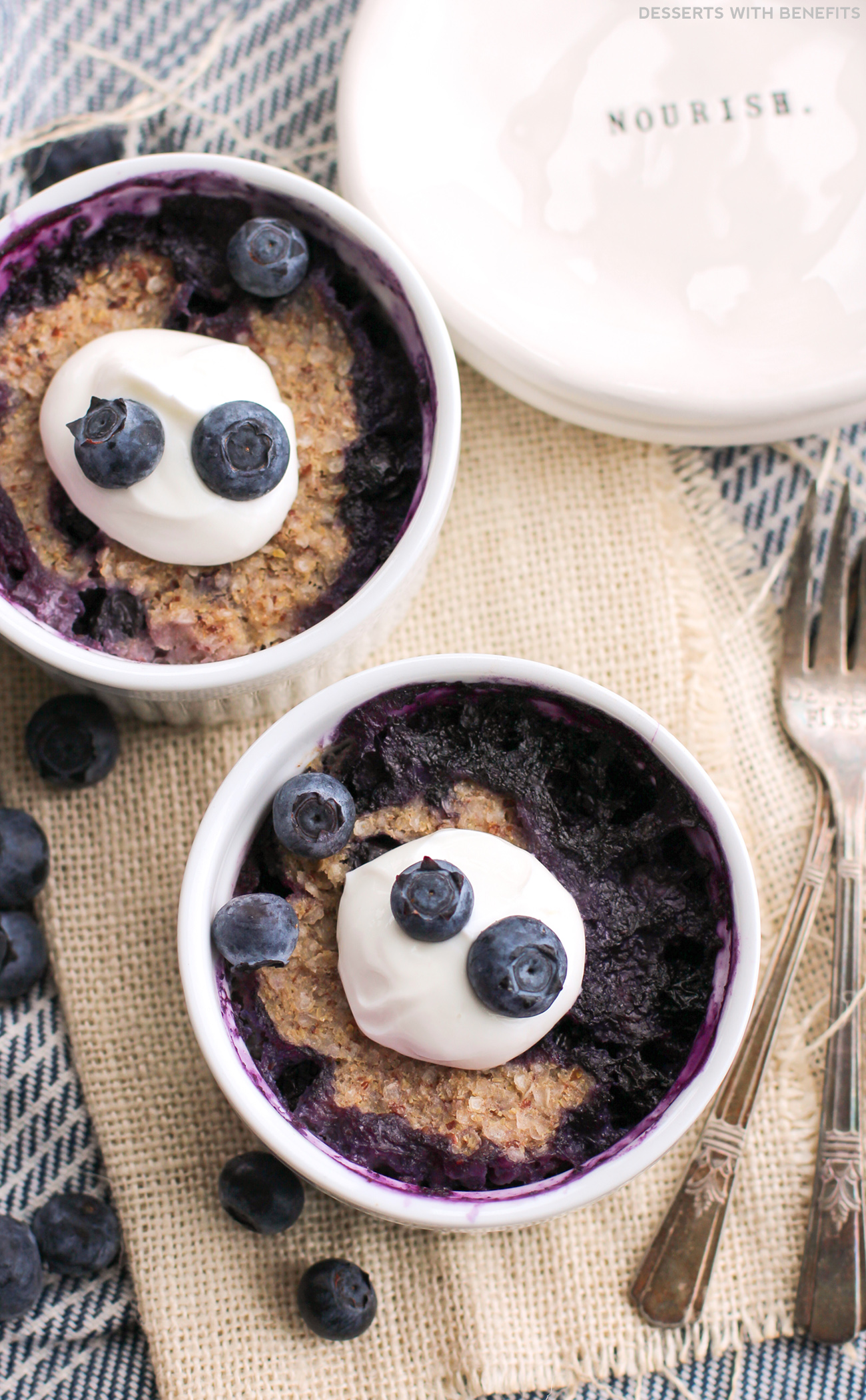 Healthy Microwaveable Blueberry Quinoa Flake Muffins (refined sugar free, low fat, high fiber, gluten free, dairy free, vegan) - Healthy Dessert Recipes at Desserts with Benefits