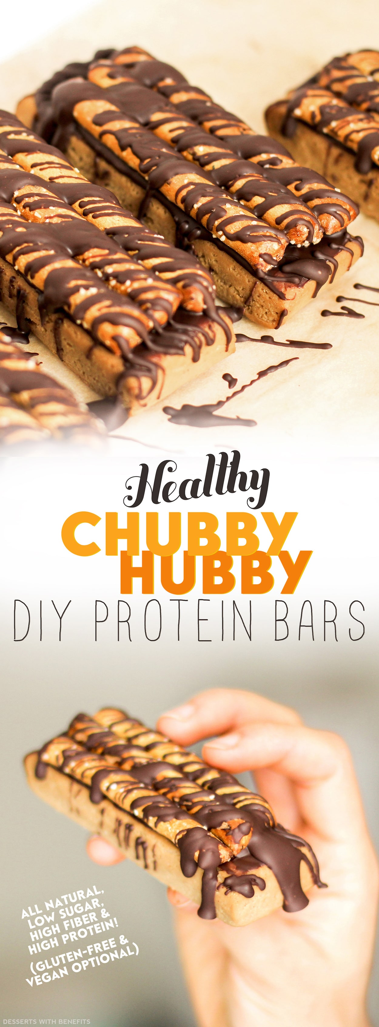 Healthy Chubby Hubby DIY Protein Bars from the DIY Protein Bars Cookbook – authored by Jessica Stier of the Desserts with Benefits Blog