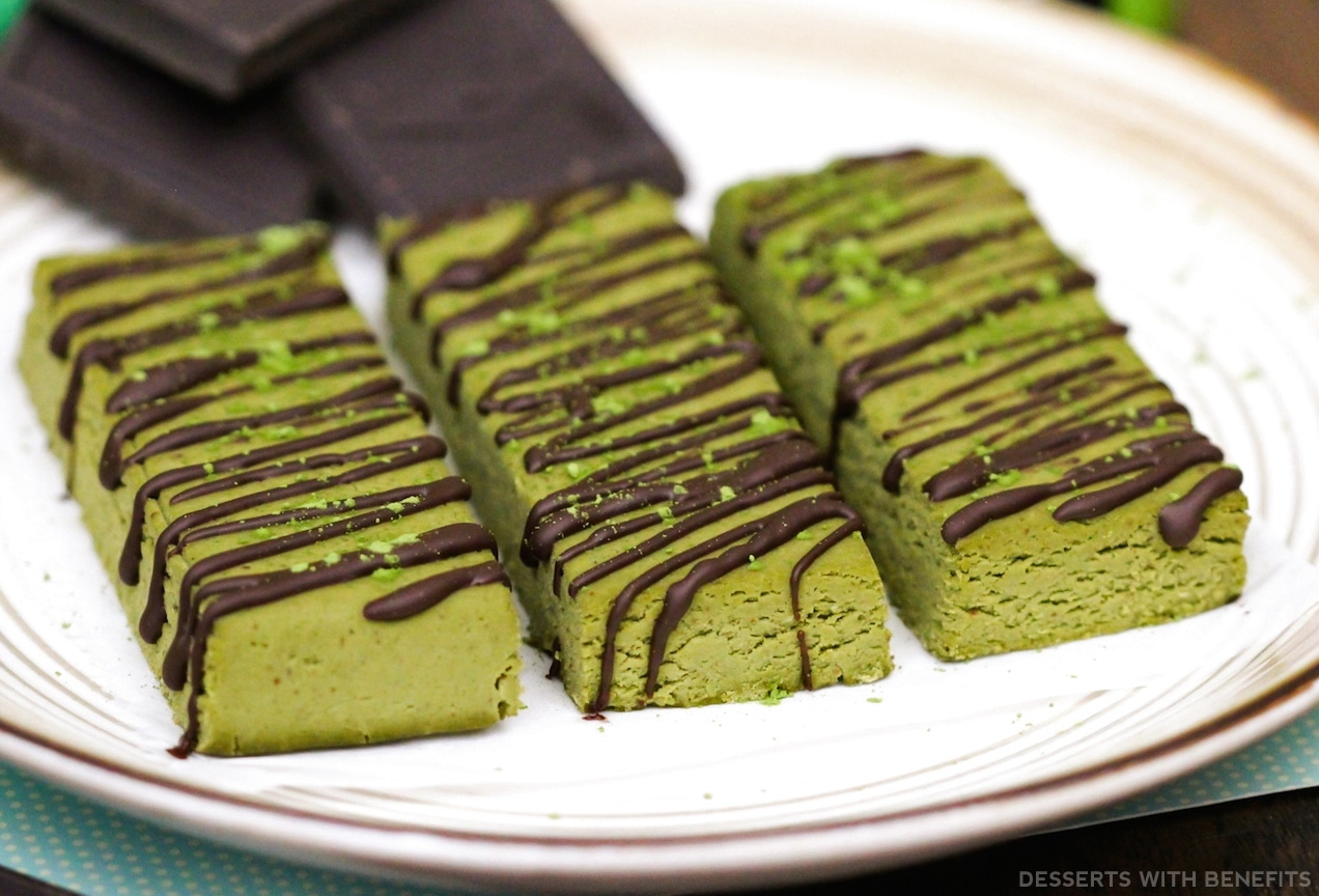 Healthy Matcha Green Tea Fudge DIY Protein Bars from the DIY Protein Bars Cookbook – authored by Jessica Stier of the Desserts with Benefits Blog