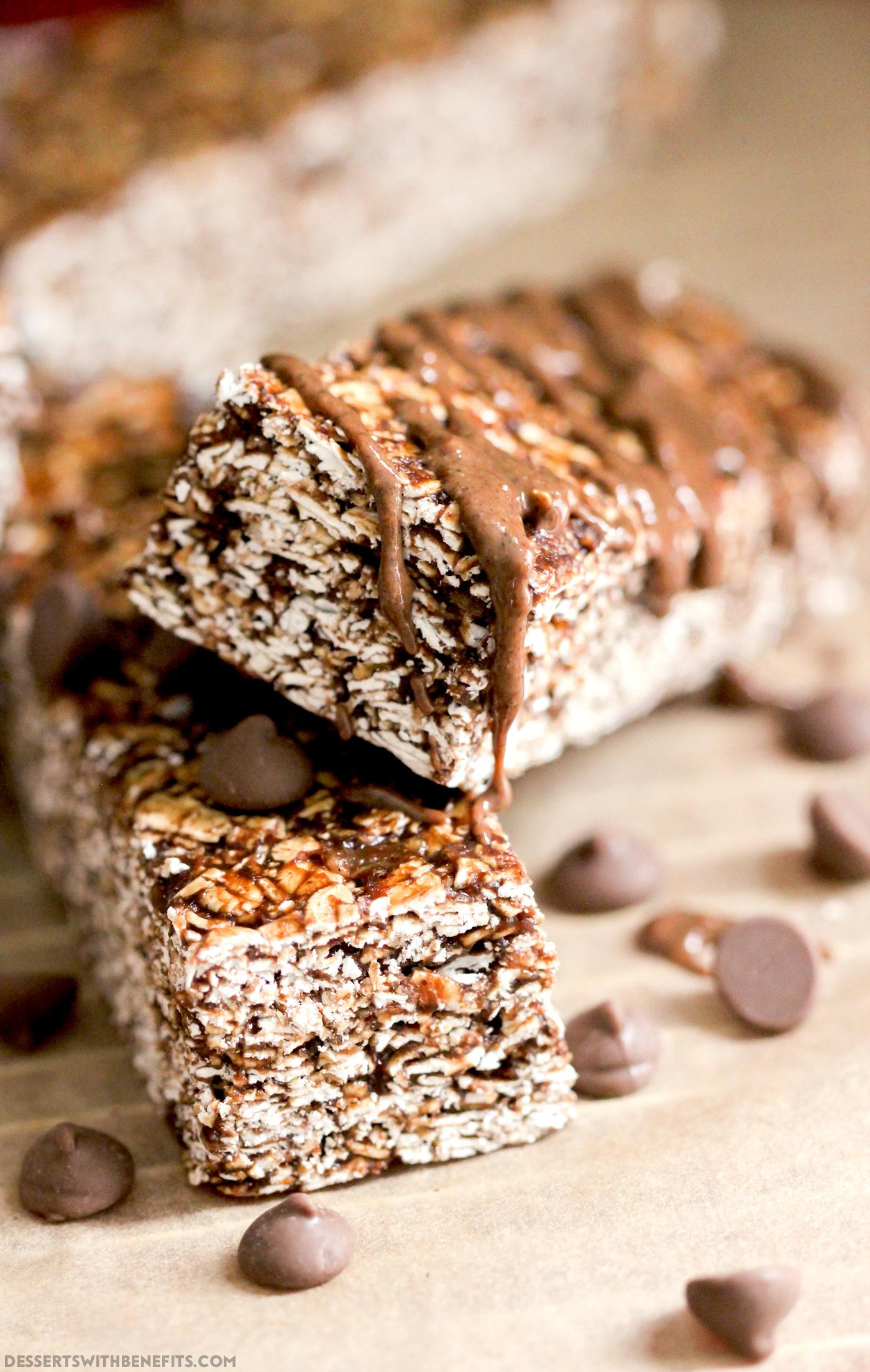 15 Healthy Nutella Recipes | Healthy No-Bake Nutella Granola Bars (refined sugar free, high protein, high fiber, gluten free) - Healthy Dessert Recipes at Desserts with Benefits