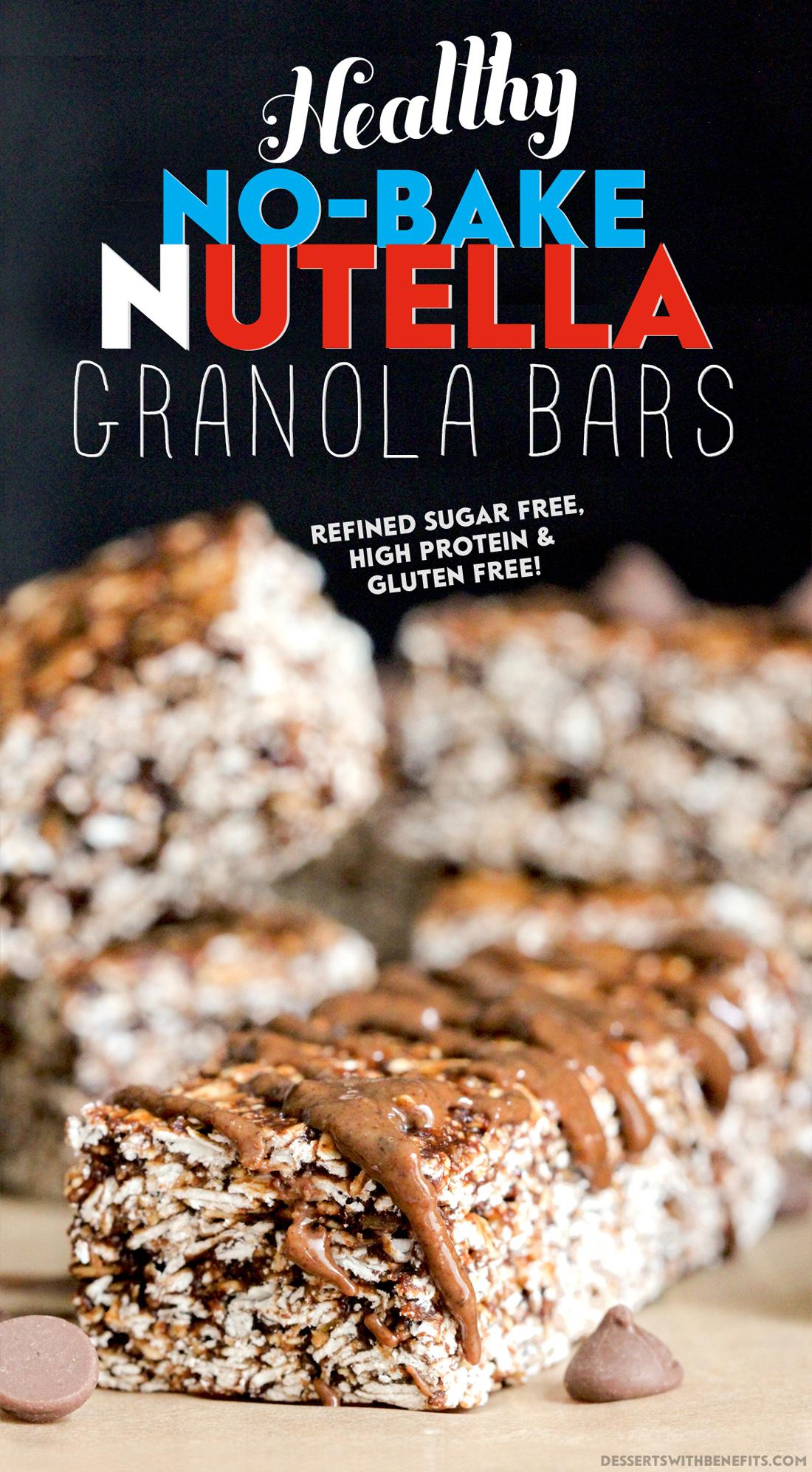 Healthy No-Bake Nutella Granola Bars (refined sugar free, high protein, high fiber, gluten free) - Healthy Dessert Recipes at Desserts with Benefits
