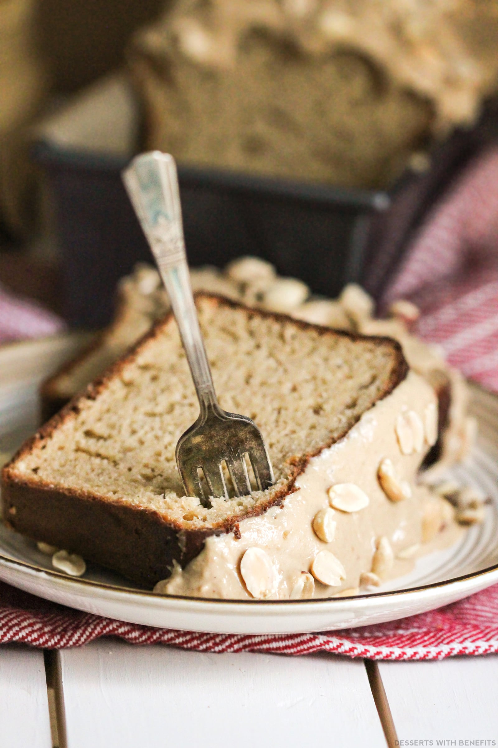 Healthy Peanut Butter Pound Cake with Peanut Butter Frosting (refined sugar free, high protein, high fiber) - Healthy Dessert Recipes at Desserts with Benefits