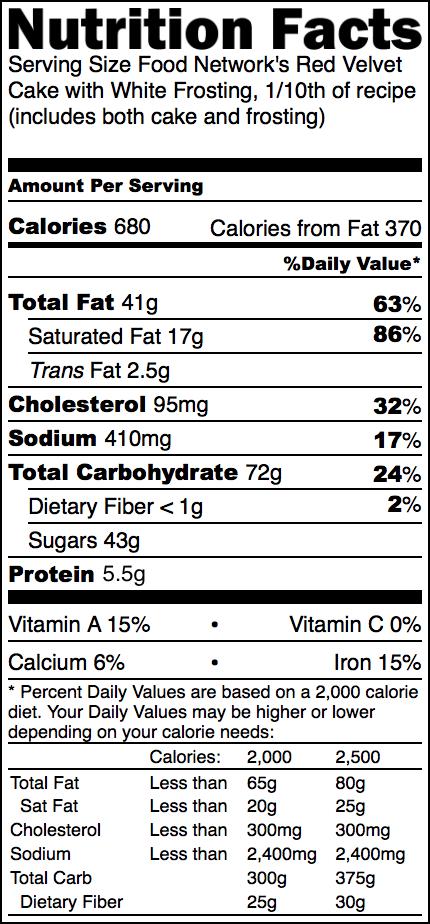 Red Velvet Cake Nutrition
