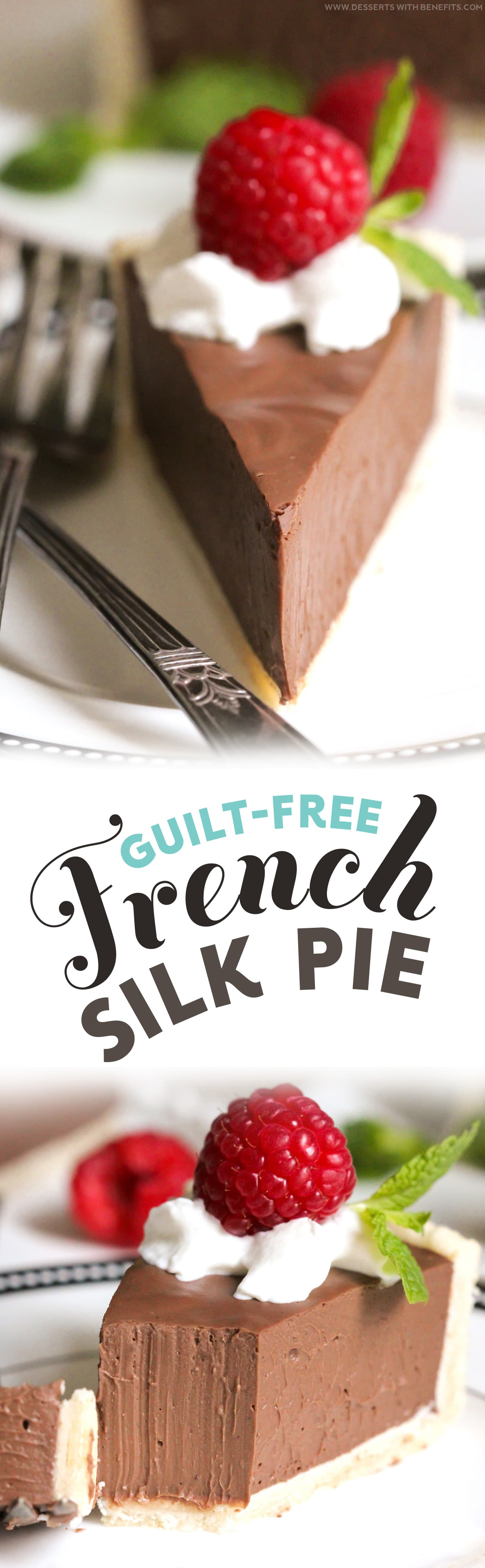 Guilt-Free French Silk Pie recipe – incredibly rich and chocolatey, sweet and creamy, and ultimately satisfying! You'd never know it's all natural and low in sugar -- Healthy Dessert Recipes at Desserts with Benefits