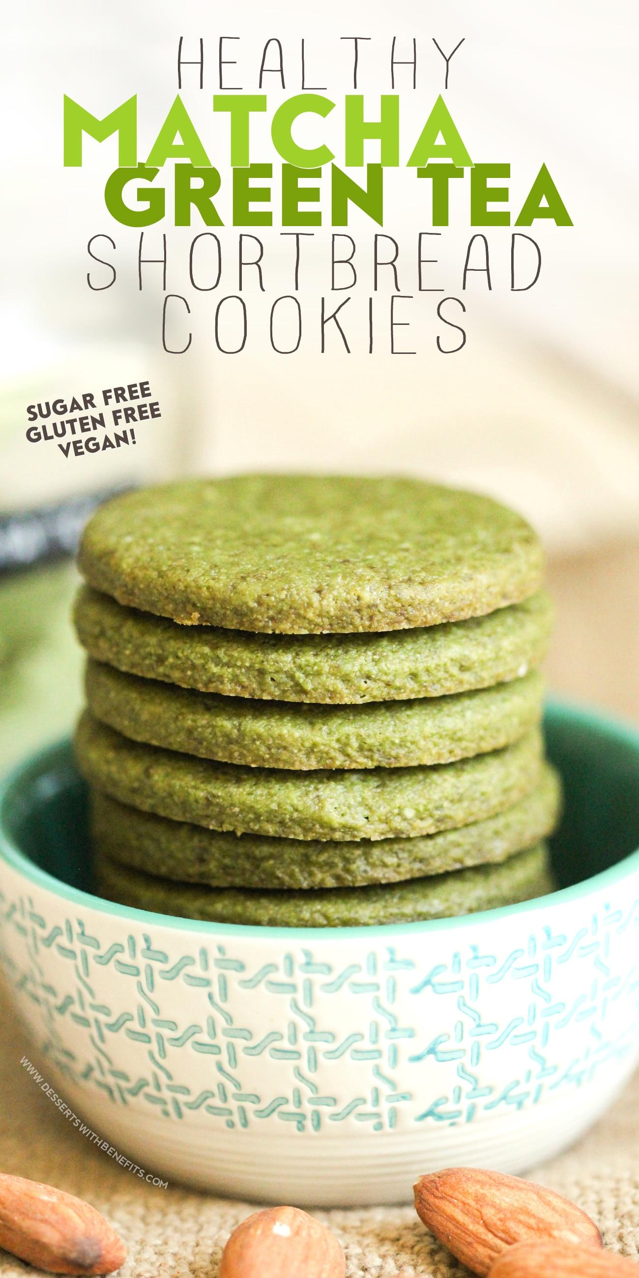 Healthy Matcha Green Tea Almond Shortbread Cookies Gluten