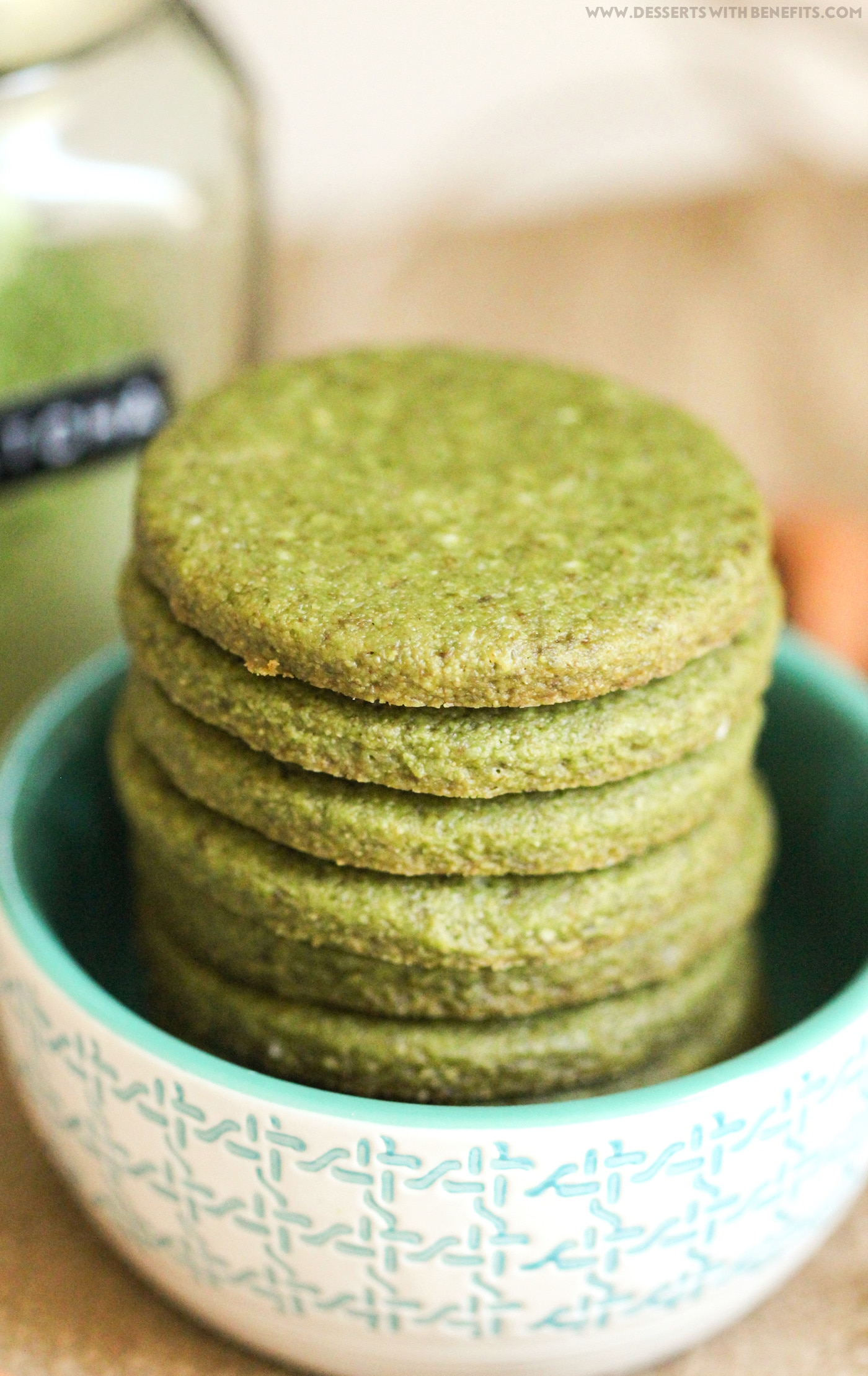 Healthy Matcha Green Tea Almond Shortbread Cookies: gluten free, vegan