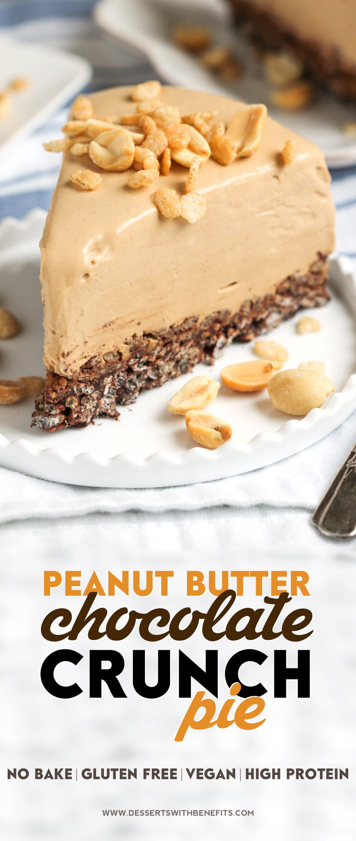 [14 healthy pie recipes to celebrate Pi Day] This Healthy Peanut Butter Chocolate Crunch Pie has got a thick, rich, and delicious peanut butter filling atop a crunchy, chocolatey base. And it's all no-bake, low sugar, high protein, high fiber, gluten free, dairy free, and vegan. This healthy dessert recipe is magic in a slice!