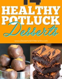 Potlucks don't have to be unhealthy when you've got these 14 tasty and healthy potluck dessert recipes! They're perfect for all types of get togethers, potlucks, and parties, and they're guaranteed to please a crowd -- Healthy Dessert Recipes at Desserts with Benefits