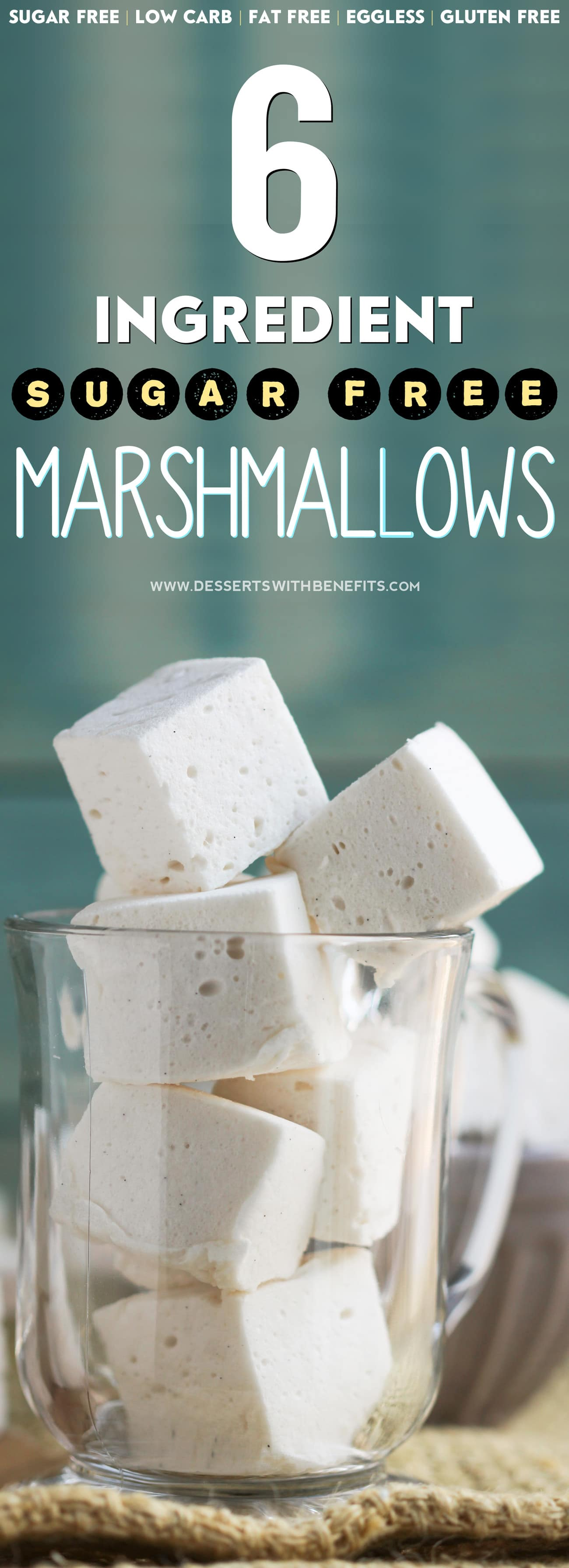 This recipe for Healthy Homemade Sugar-Free Marshmallows is SUPER fun to make and requires just 6 ingredients! You'd never know that these fluffy, sweet marshmallows are all natural, sugar free, low carb, fat free, eggless, and gluten free -- Healthy Dessert Recipes at Desserts with Benefits