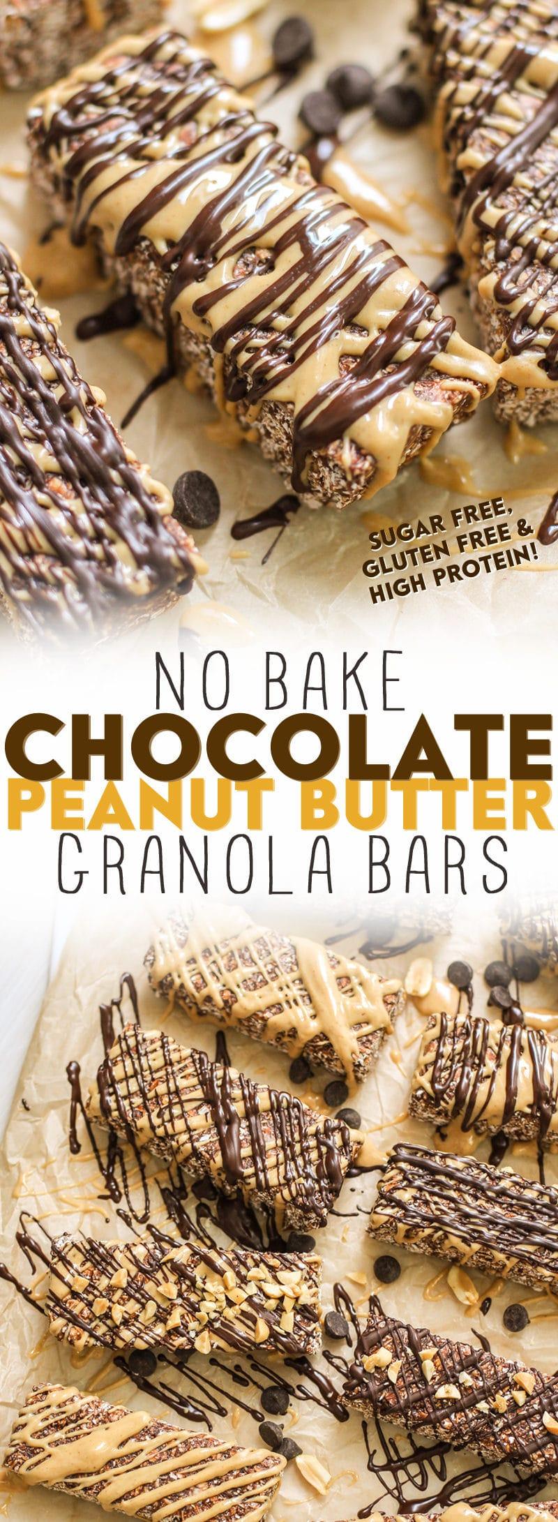 Healthy No-Bake Chocolate Peanut Butter Granola Bars (refined sugar free, high protein, high fiber, gluten free) - Healthy Dessert Recipes at Desserts with Benefits