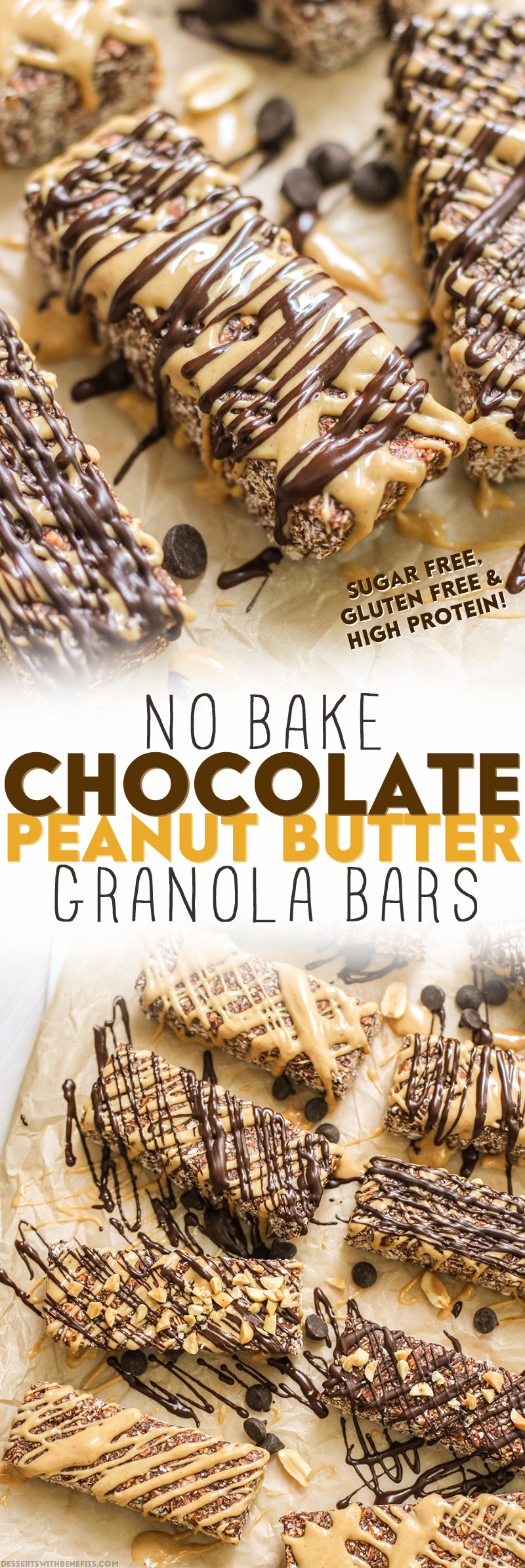 Healthy No-Bake Chocolate Peanut Butter Granola Bars (refined sugar free, high protein, high fiber, gluten free) - Healthy Dessert Recipes at Desserts with Benefits