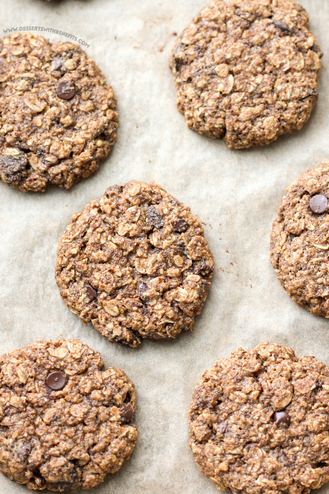15 Healthy Nutella Recipes | These Healthy Nutella Chip Oatmeal Cookies are sweet, chewy, and addicting, yet refined sugar free, gluten free, dairy free, and vegan! Healthy Dessert Recipes at Desserts with Benefits