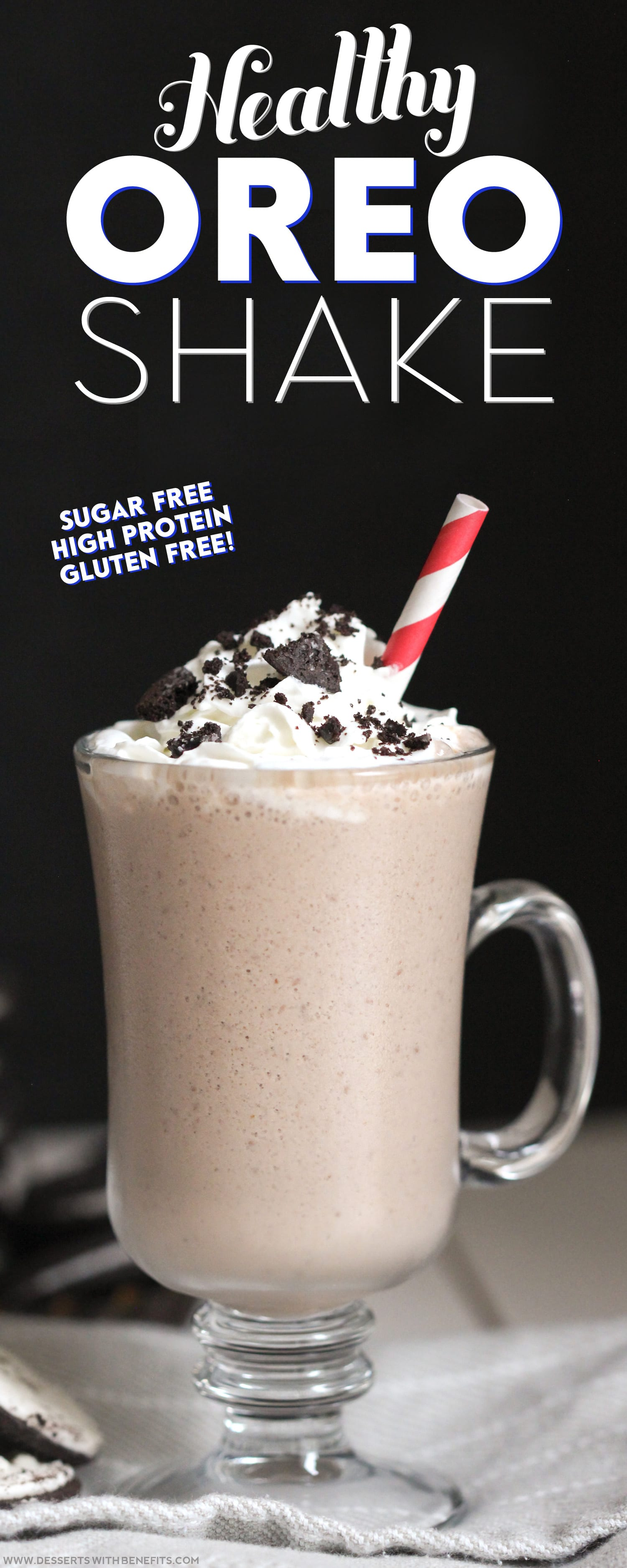 Healthy Oreo Shake Recipe refined sugar free high protein gluten