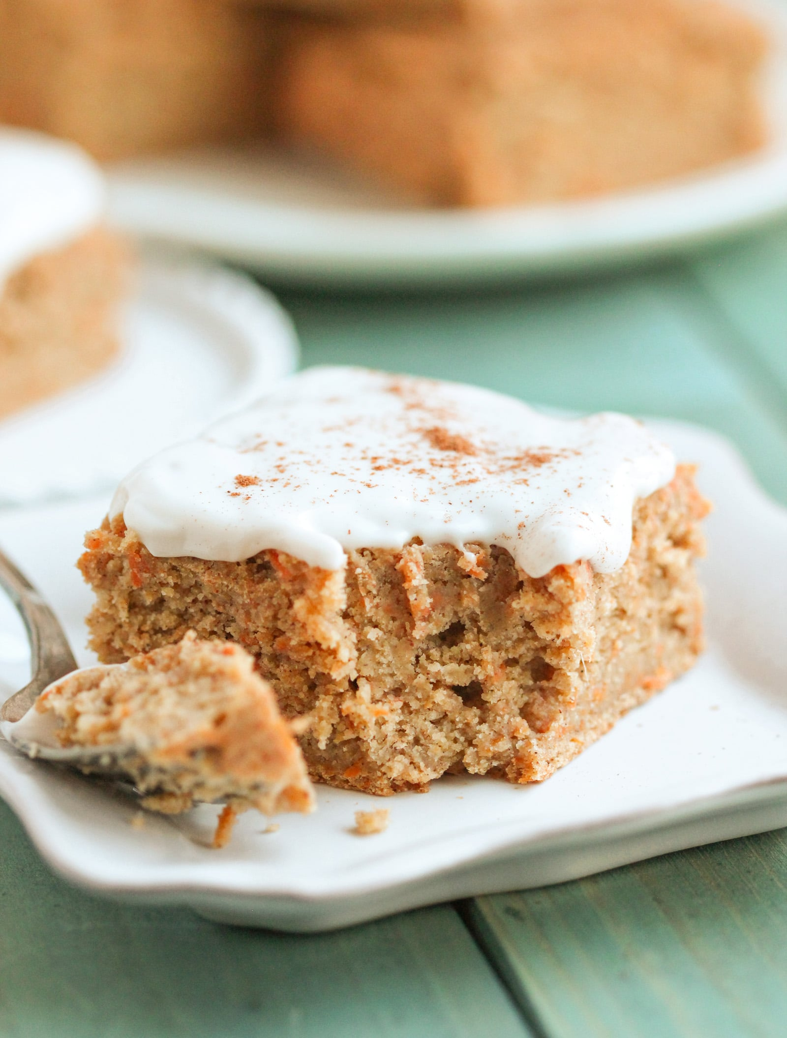These Healthy Carrot Cake Blondies are sweet, dense, chewy, and PACKED with Carrot Cake flavor. Even with one cup of grated carrots, no one could detect any vegetables! And we definitely wouldn't have ever guessed it's sugar free, low fat, gluten free, and vegan. -- Healthy Dessert Recipes at the Desserts With Benefits Blog (www.DessertsWithBenefits.com)