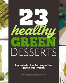 Here's a roundup of 23 HEALTHY green dessert recipes! From Key Lime Cheesecake to Gummy Bears to Matcha Green Tea Protein Bars to Green Smoothie Ice Cream -- you'll be sure to find a recipe perfect to celebrate St. Patrick's Day, Christmas, or the birthday of someone who loves green! These healthy recipes are suitable for everyone with sugar free, low calorie, low fat, high protein, gluten free, dairy free, and vegan options.