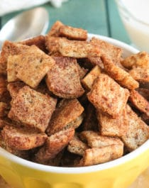 This Healthy Cinnamon Crunch Toast Cereal tastes just like the storebought version. But GUESS WHAT? This healthy homemade version is made without the added sugar, preservatives, and unnecessary additives. It's low in sugar, all natural, and even vegan! -- Healthy Dessert Recipes with sugar free, low calorie, low fat, high protein, gluten free, and dairy free options at the Desserts With Benefits Blog (www.DessertsWithBenefits.com)
