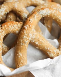 These Healthy Low Carb and Gluten Free Soft Pretzels are so soft and delicious, you'll never believe they're sugar free, high protein, and high in fiber! -- Healthy Dessert Recipes with sugar free, low calorie, low fat, high protein, gluten free, dairy free, and vegan options at the Desserts With Benefits Blog (www.DessertsWithBenefits.com)