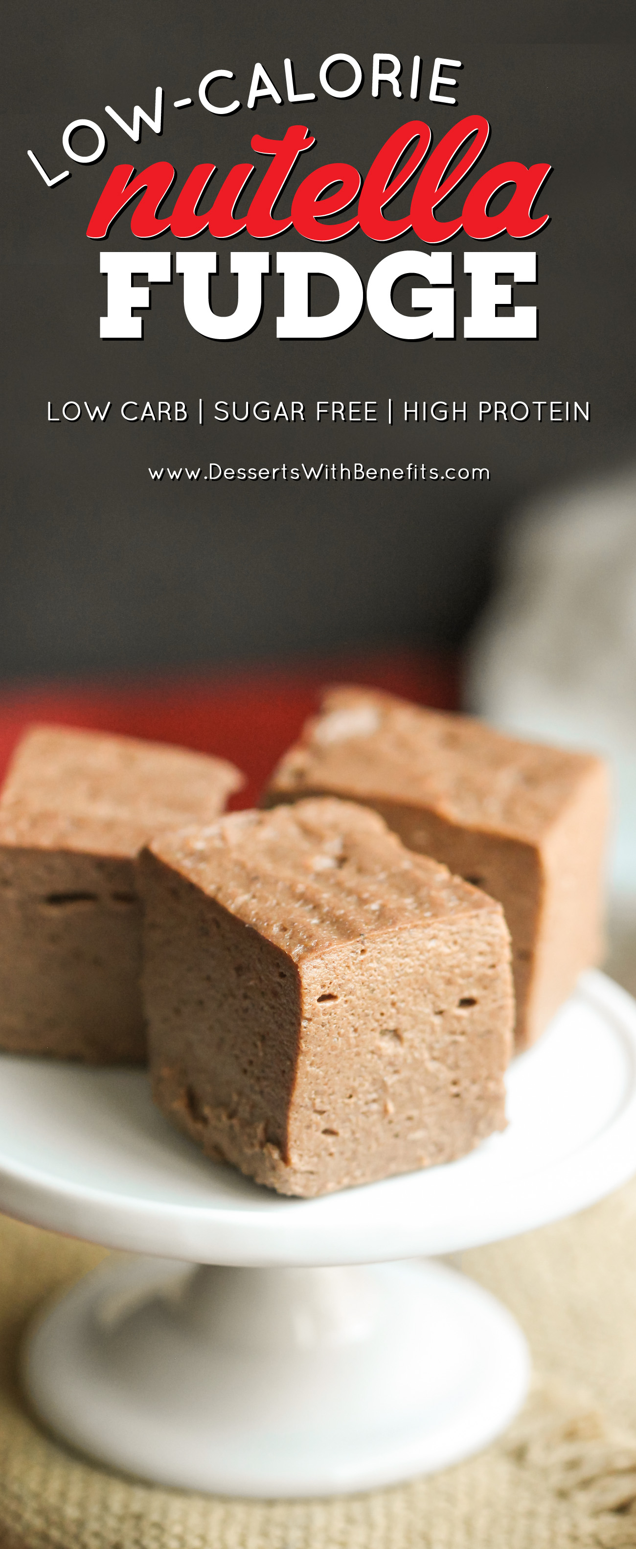 This Healthy Nutella Fudge is sweet, chocolatey, fluffy, and delicious. Oh, and it's made with two secret ingredients! Can you guess what they are? This addicting fudge is packed full of protein, fiber, and healthy fats, and none of the added sugar or artificial ingredients. It sure doesn't taste low calorie, sugar free, low carb, high protein, high fiber, and gluten free! -- Healthy Dessert Recipes at the Desserts With Benefits Blog (www.DessertsWithBenefits.com)