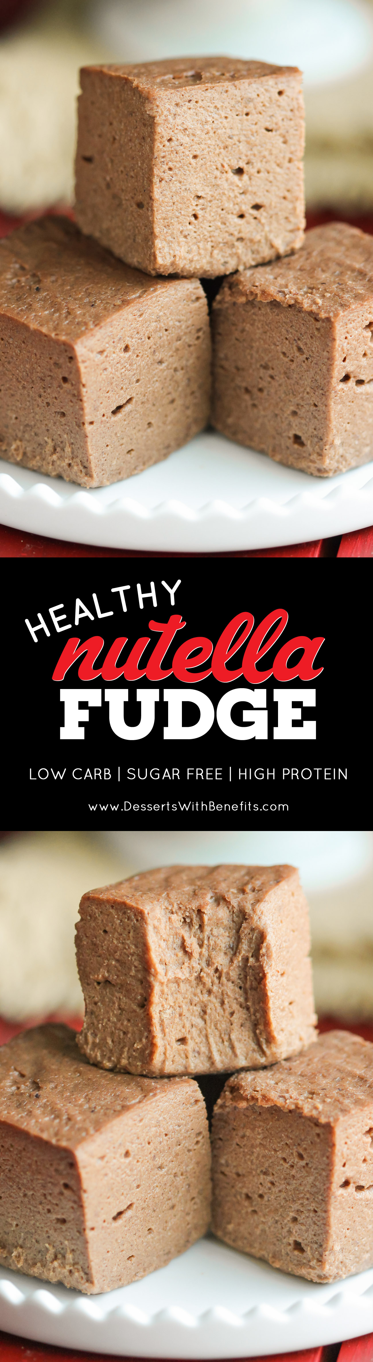 15 Healthy Nutella Recipes | This Healthy Nutella Fudge is sweet, chocolatey, fluffy, and delicious. Made with 2 secret ingredients! This addicting fudge is packed full of protein, fiber, and healthy fats, and none of the added sugar or artificial ingredients. It sure doesn't taste low calorie, sugar free, low carb, high protein, high fiber, and gluten free! -- Healthy Dessert Recipes at the Desserts With Benefits Blog (www.DessertsWithBenefits.com)