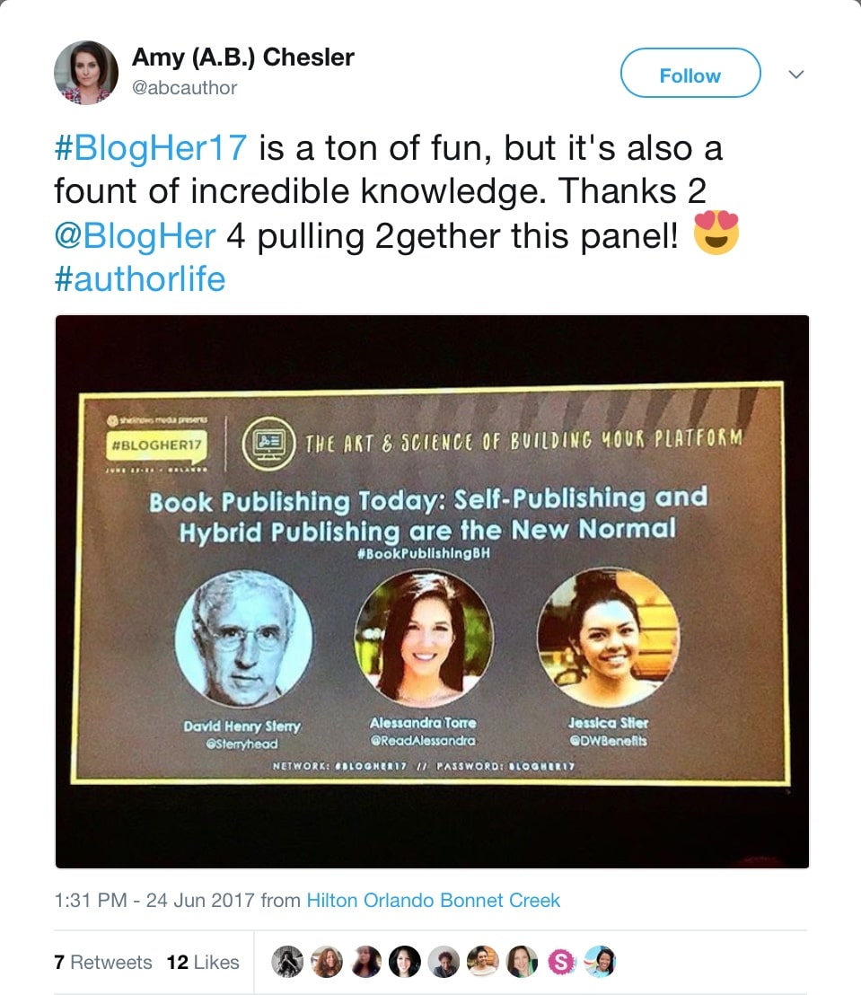 Jessica Stier of Desserts With Benefits speaking on book publishing at the BlogHer 2017 Conference