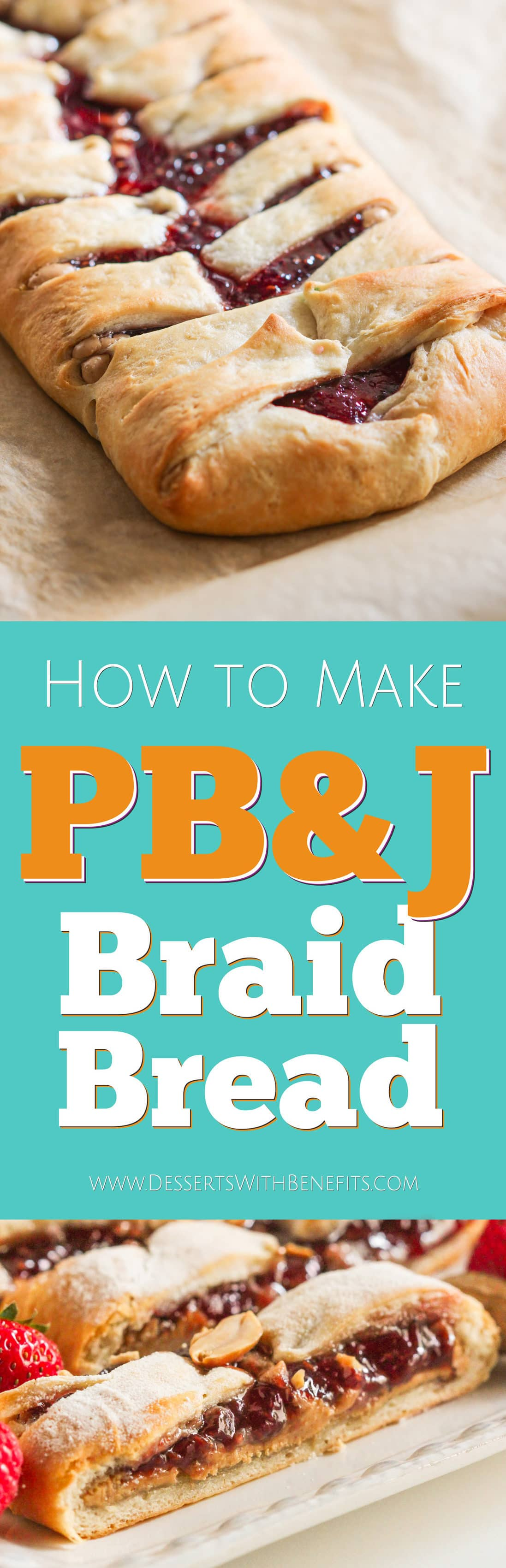 Step up your PB&J game with this easy Peanut Butter and Jelly Braid Bread! It looks difficult to make but took less than 20 minutes to whip together. Oh, and it's vegan, all natural, and has no sugar added – perfect as a tasty, back to school lunchbox snack! Healthy Dessert Recipes with sugar free, low calorie, low fat, low carb, high protein, gluten free, dairy free, vegan, and raw options at the Desserts With Benefits Blog.
