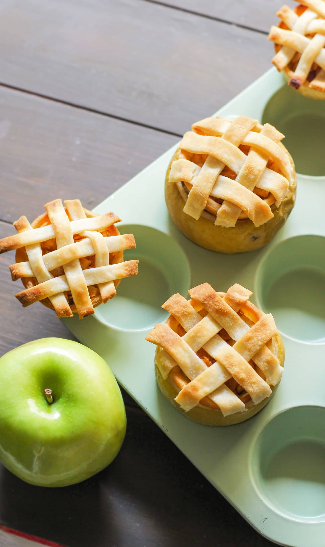 Looking for a unique healthy apple pie recipe? No need for fancy pie dishes here, all you need are the apples themselves! These Healthy Apple Pies are served IN THE APPLE! They're so adorable and creative, you'll be sure to WOW everyone you serve these to. And the kicker? They're low fat and vegan with no sugar added. Healthy Dessert Recipes at the Desserts With Benefits Blog (www.DessertsWithBenefits.com)