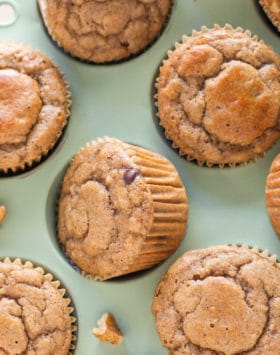 These are the ULTIMATE Healthy Banana Muffins! So fluffy, moist, sweet, and packed with banana bread flavor, you'd never guess that these have NO butter and NO sugar added. These Banana Muffins are low calorie, low fat, refined sugar free, gluten free, AND dairy free, but they sure don't taste like it! Healthy Dessert Recipes at the Desserts With Benefits Blog (www.DessertsWithBenefits.com)