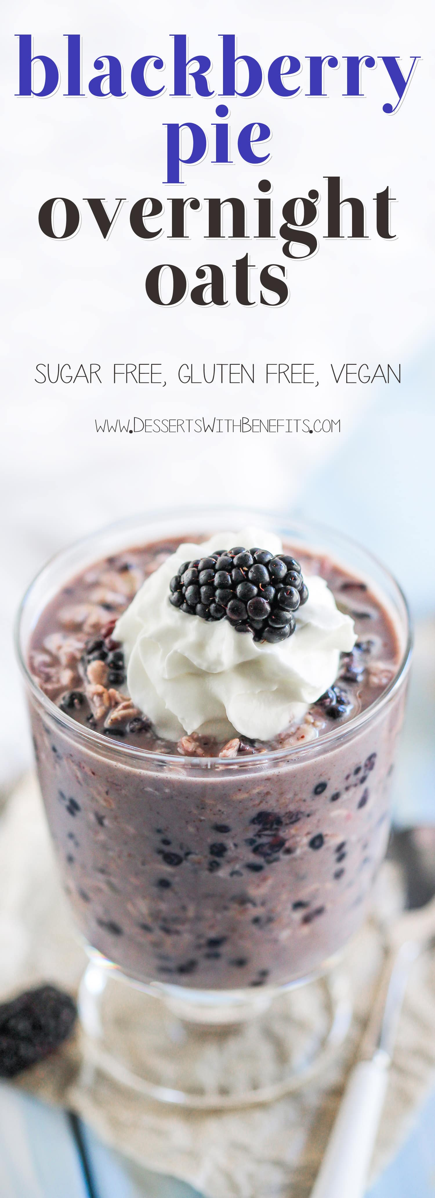 Make a batch of Healthy Blackberry Pie Overnight Dessert Oats! All the flavor of blackberry pie, all the sweetness of a dessert, with all the healthfulness and nutrition of oatmeal. Win-win-win. Oh, and it's refined sugar free, low fat, gluten free, and vegan too! Healthy Dessert Recipes at the Desserts With Benefits Blog