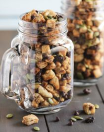 """Swap boring trail mix with this Healthy Muesli Trail Mix! It's a fun, nutritious snack filled with pumpkin seeds and baked """"muesli"""" for crunch, soft and chewy raisins for sweetness, and mini chocolate chips for some decadence! (low sugar, dairy free, vegan) Healthy Dessert Recipes at the Desserts With Benefits Blog (www.DessertsWithBenefits.com)."""