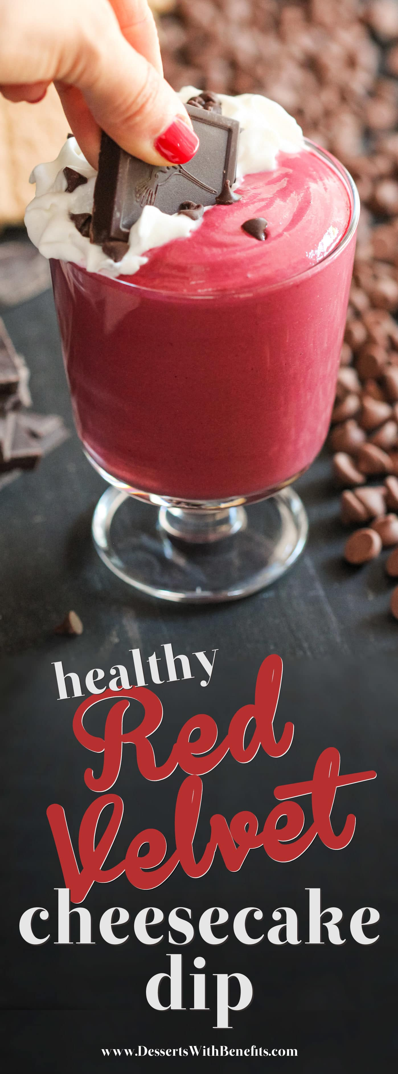 This Healthy Red Velvet Cheesecake Dip is rich, sweet, creamy, and completely addicting! And made with a secret ingredient too! One bite and you'll be hooked. Oh, but don't worry, it's sugar free, low carb, low fat, high protein, and gluten free. Healthy Dessert Recipes with low calorie, low fat, high protein, gluten free, dairy free, vegan, and raw options at the Desserts With Benefits Blog (www.DessertsWithBenefits.com)