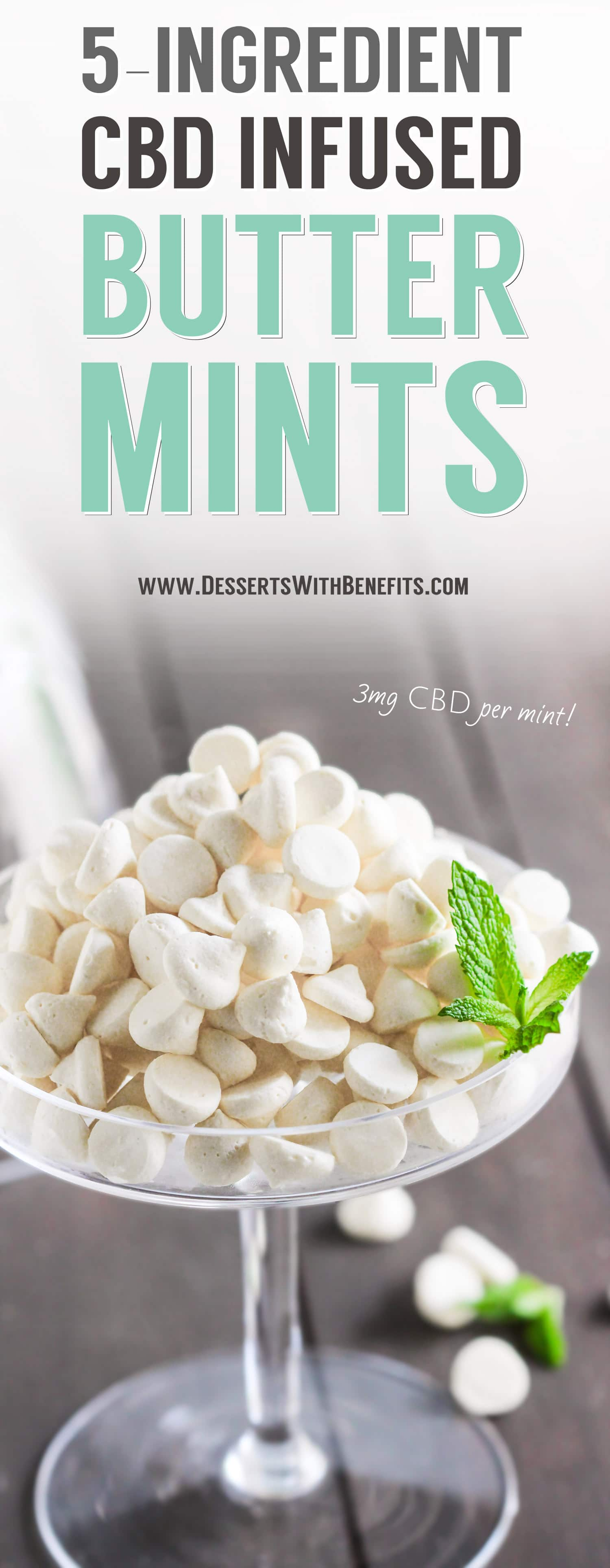 Homemade Butter Mints made with only 5 ingredients! Super easy to make, sweet, and minty fresh. Like bites of frosting! You'd never know these DIY Butter Mints are sugar free, low carb, and gluten free… with a secret ingredient! Healthy Cannabis-Infused Recipes and Homemade Edibles at the Desserts With Benefits Blog (www.DessertsWithBenefits.com). Get baked, guilt free!