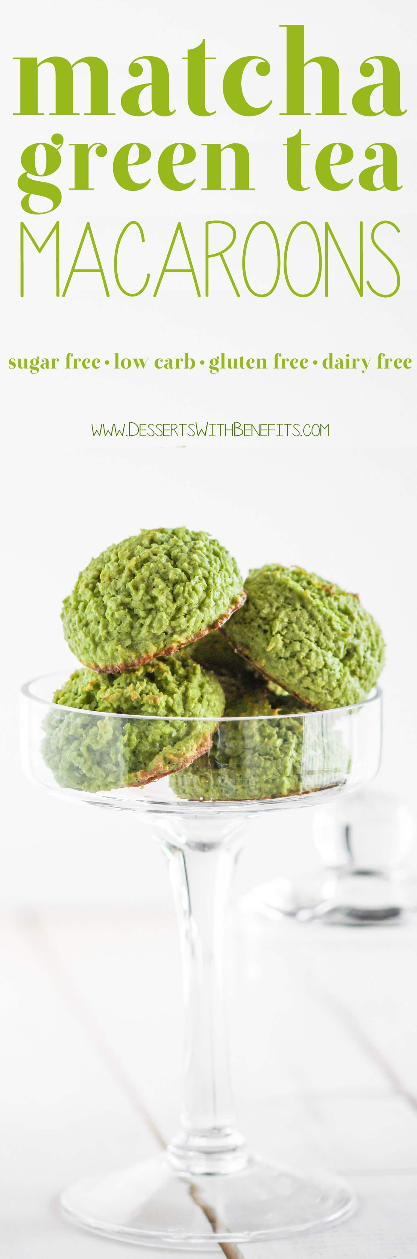 90-calorie Matcha Green Tea Coconut Macaroons – heaven in a bite-sized package! They're chewy from the coconut, have a deep, sophisticated matcha flavor, and are perfectly sweet. You'd never know these Matcha Macaroons are sugar free, low carb, gluten free, AND dairy free! Healthy Dessert Recipes at the Desserts With Benefits Blog (www.DessertsWithBenefits.com)