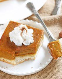 Healthy Pumpkin Pie Bars (lower calorie, lower fat, lower sugar)