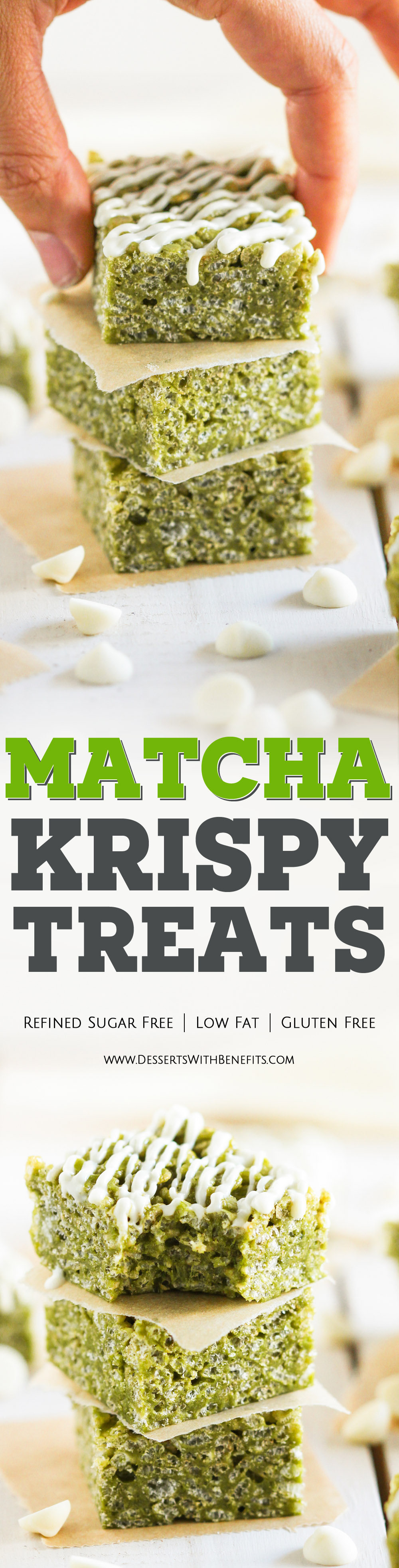 These Healthy Matcha Green Tea Krispy Treats have a subtle yet vibrant matcha flavor. They're crunchy, chewy, and perfectly sweet – it's heaven in a little square package! You'd never know they're refined sugar free, low fat, and gluten free. Healthy Dessert Recipes at the Desserts With Benefits Blog