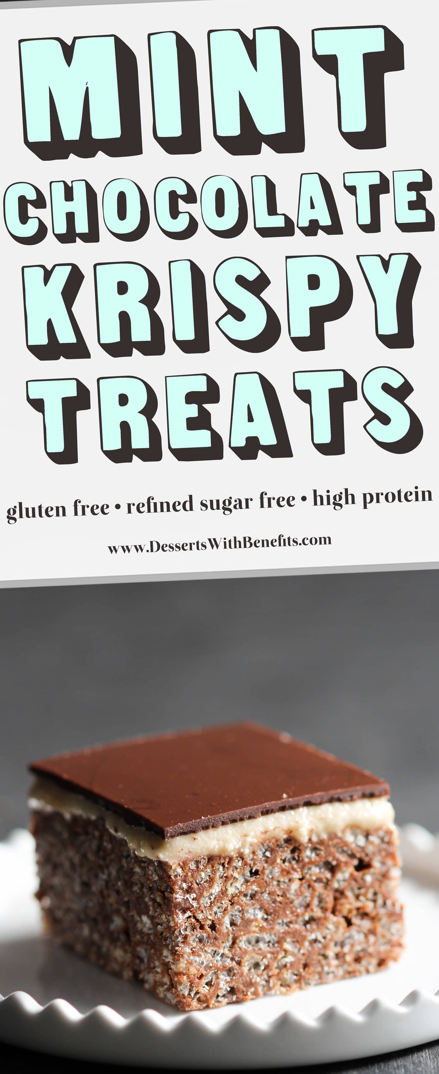 These Mint Chocolate Krispy Treats are crunchy, chewy, sweet, rich, and UBER decadent. You'd never know they're healthy! Oh yes, these are refined sugar free, high protein, and gluten free too. Healthy Dessert Recipes at the Desserts With Benefits Blog (www.DessertsWithBenefits.com)