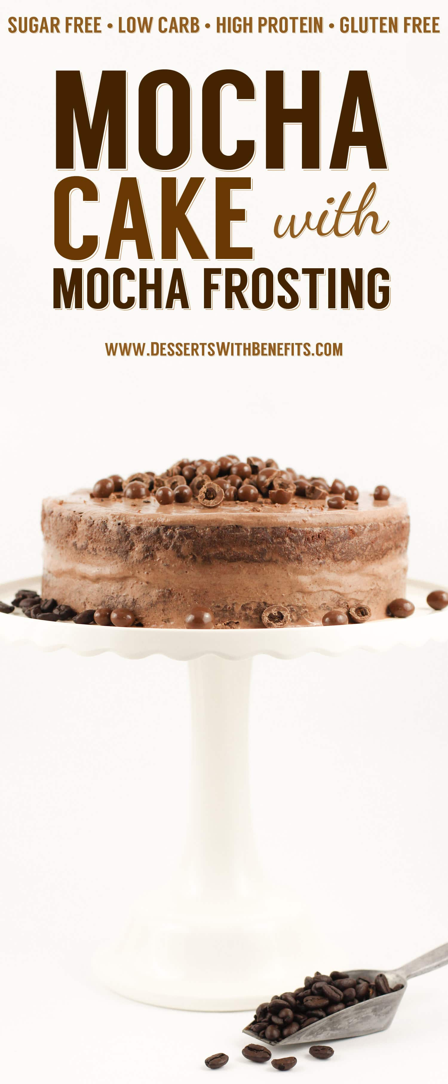 This Mocha Cake with Mocha Frosting is infused with enough coffee and chocolate flavor to make your taste buds fall in love. You get TWICE the coffee flavor in this double whammy mocha dessert. This cake is super fluffy and moist and the frosting is perfectly chocolatey and sweet, you'd never know it's all sugar free, low carb, high protein, and gluten free too!
