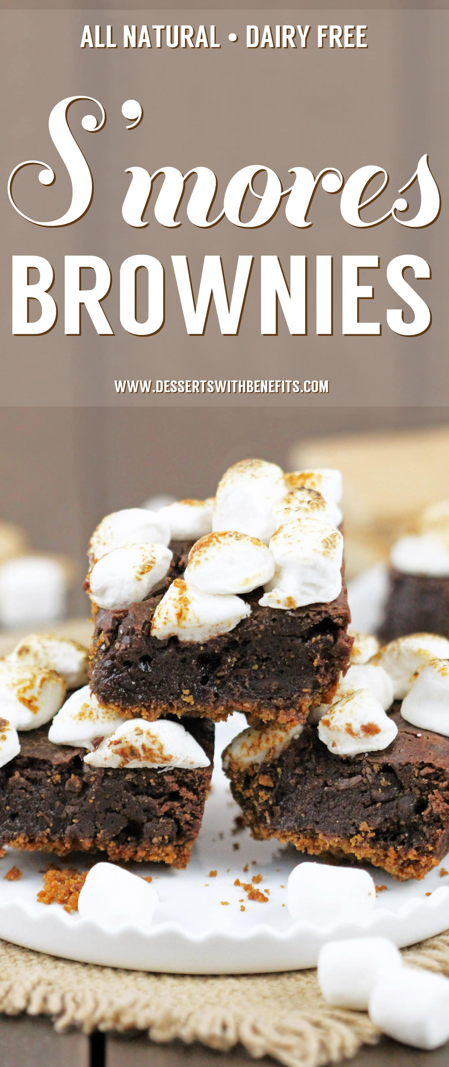 6-ingredient S'mores Brownies! Satisfy your s'mores craving with these delicious brownies. Made with an actual graham cracker crust, fudge brownie filling, and a sweet marshmallow studded topping, every bite is full of salty-sweet graham cracker flavor, decadent chocolate, and toasted mallows. Healthy Dessert Recipes at the Desserts With Benefits Blog (www.DessertsWithBenefits.com)