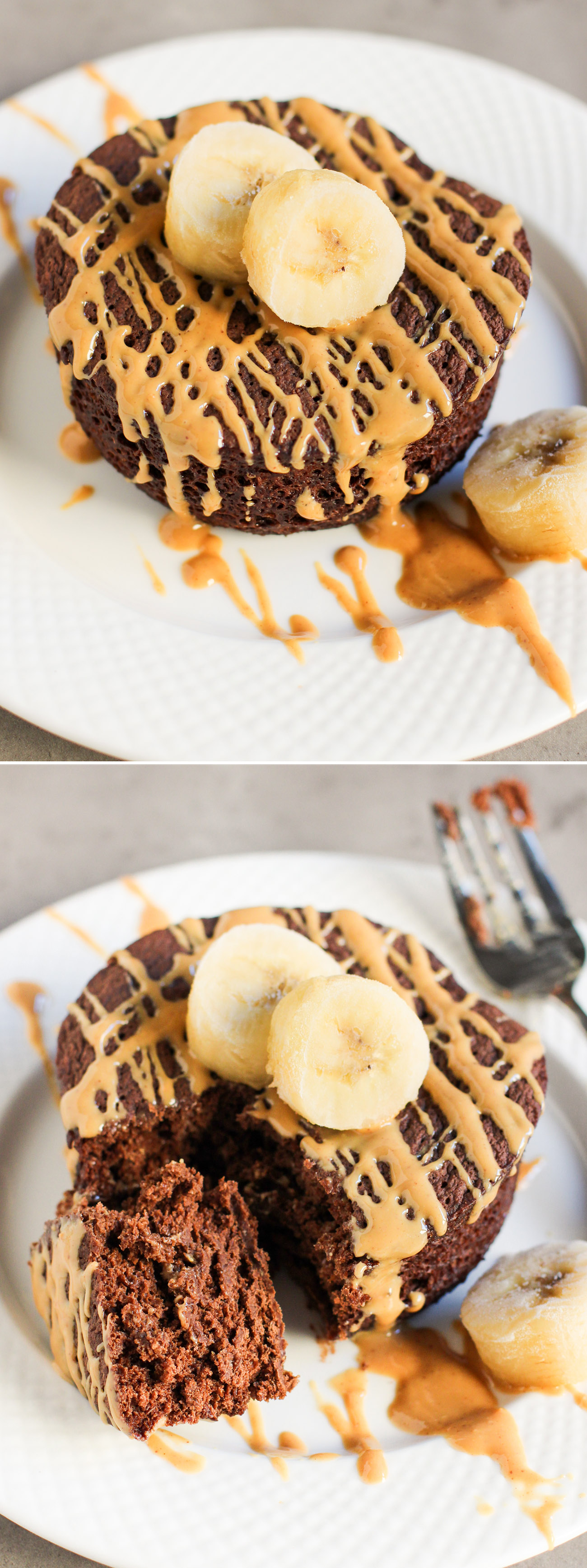 5-Minute Healthy Single-Serving Chocolate Peanut Butter Banana Microwave Cake (refined sugar free, high protein, high fiber, gluten free, vegan) -- Healthy Dessert Recipes at the Desserts With Benefits Blog